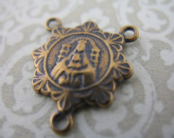 Rosary Center Connector Madonna and Child Rosary Parts Bronze Jewelry Supplies B349LS