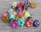 Assorted Colors, Baby Bell, Czech Flower 25 Glass Beads