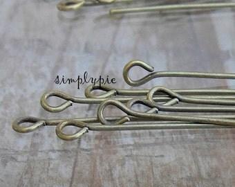 2-inch Antiqued Brass 21-Gauge Eyepins 50 Eye Pins