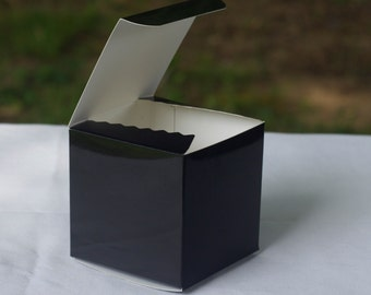 12 Glossy Black Favor Boxes - Wedding Favors - Bridal Shower Favor Boxes - Birthday Party Favors - Party Boxes - 3 x 3