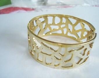 Gold Tone Abstract Hinge  Bracelet