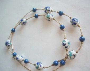 Vintage Blue White  Flower Cloisonne Beads