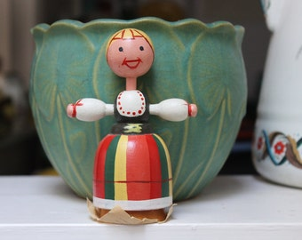 Wooden Doll Made In Poland Folk Costume VINTAGE by Plantdreaming