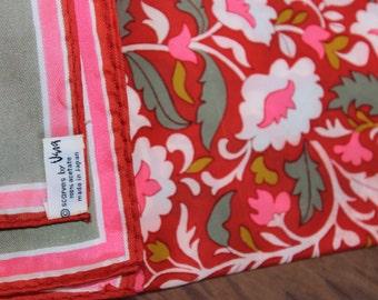 Vera Neumann Vintage scarf  Bold Red Pink Green Large Acetate Japan VINTAGE by Plantdreaming