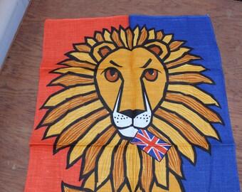 Tea Towel Lion UK British Flag Bold Unused  Wall Hanging Irish Linen Ulster Rare VINTAGE by Plantdreaming