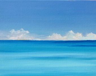 "Serenity, a 6"" x 8"" (15 x 20) original oil painting. Yvonne Wagner. Meer. Breeze. Caribbean. Ocean. Zen. Meditation. Free Shipping to USA."