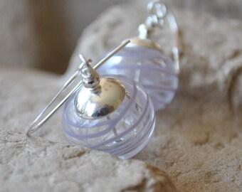 Lavender Earrings, Transparent Earrings, Light Weight Hollow Bead Earrings, Striped Earrings, Purple Earrings