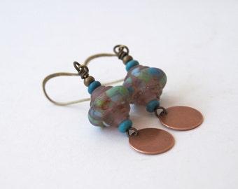 Purple Copper Earrings, Beaded Earrings, Lampwork Glass Earrings