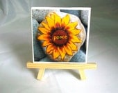 Mini Sunflower Print on Canvas with Easel