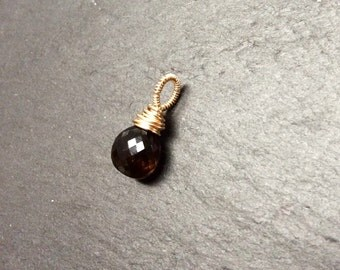 Smokey Quartz and 14 k Gold Filled Wire Wrapped Charm