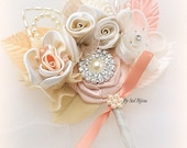Boutonniere, Peach, Champagne, Tan, Ivory, Coral, Corsage, Groom, Groomsmen, Mother of the Bride, Button Hole, Pearls,Crystals