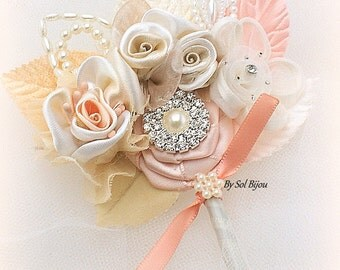 Groom Boutonniere, Peach, Coral, Champagne, Tan, Ivory, Corsage, Groomsmen, Maid of Honor, Mother of the Bride, Button Hole, Pearls,Crystals