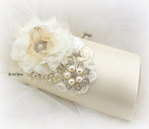 Ivory Clutch, Cream, Ivory, White, Bridal, Wedding, Handbag, Purse, Mother of the Bride, Brooch, Ostrich Feathers, Crystals, Pearls, Elegant