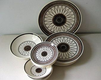 Vintage 1960s Casa Del Sol dinnerware Cavalier Ironstone dishes, Royal China dish set