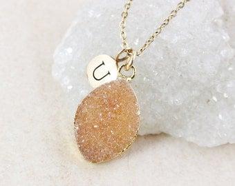 50% OFF SALE - Orange Druzy Necklace - Leaf Pendant - Letter Necklace