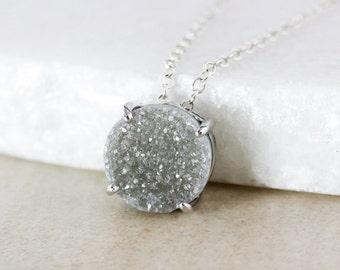 50% OFF SALE - Round Multi-Color Druzy Pendant Necklace - Choose Your Druzy - 925 Sterling Silver
