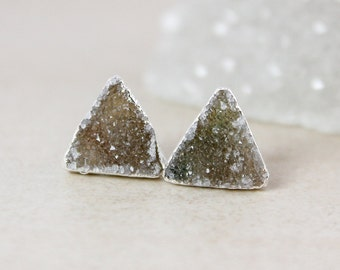 Moss Green Triangular Druzy Studs - Choose Your Druzy - 925 Sterling Silver