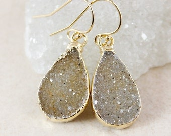 Brown Sugar Druzy Dangle Earrings - Choose Your Druzy - Gold or Silver