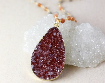 50% OFF SALE - Crimson Red Druzy Necklace - Peach Moonstone Chain - Layering Necklace