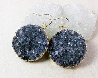 Black Druzy Statement Earrings – 14K Gold Filled