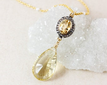 Gold Citrine Teardrop Layering Necklace – Pave Diamond – Freshwater Pearl Chain