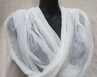 White Infinity loop scarf Kundalini Yoga head cover wrap shawl