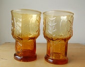 Vintage Pair of Orange Drinking Juice Glasses Libby Country Garden Daisy Small 1970s Retro Tumblers