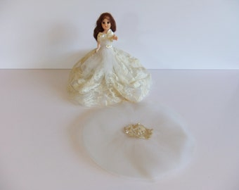 Vintage Wedding Doll, 1940 doll Cake topper, Lace Dress,