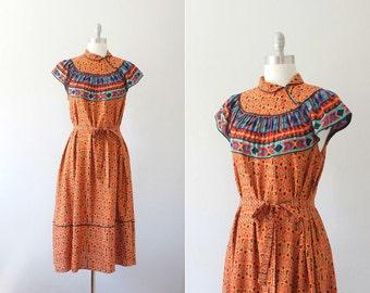 1970s Joseph Magnin floral dress / vintage 70s ethnic print dress / Blanket Flower dress