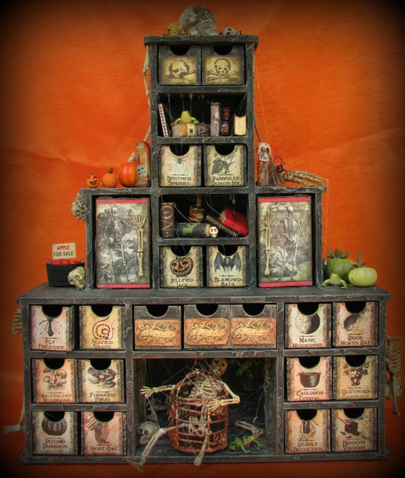 Halloween Cabinet Creepy Apothecary Advent Calendar 25