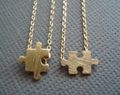 One pair of Tiny gold puzzle Necklace set...sorority simple everyday jewelry, graduation, best friends, bridesmaid gift