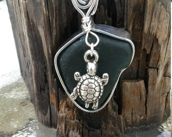 Olive Green Sea Glass Necklace with Sea Turtle Charm