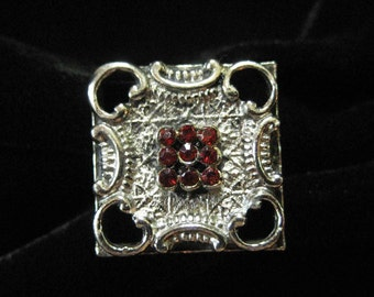 Square Costume Cocktail Ring, Tiny Red Stones, Adjustable