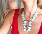 Statement Necklace, Statement Pendant, White, Green, Blue, Chunky, Big, Modern, Contemporary, Large, Margaret Mordzinski
