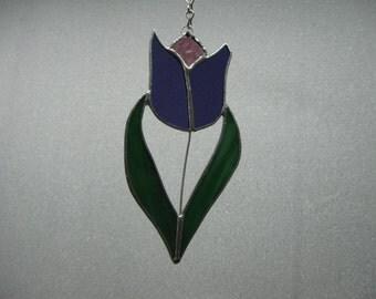 Tulip in Purple Stained Glass Suncatcher