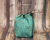 DSLR Camera, Travel Pouch, Cozy Bag, Aqua Sage,Camera Accessory, Drawstring,Carry in Handbag, Carry in Luggage, Geometric,