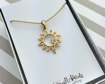 Gold Sun Necklace - Sunshine Necklace  Small Gold Sun Charm Necklace - in silver gift box or carded gift with You are My Sunshine quote