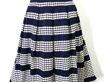 Vintage skirt // Polka Dots Summer skirt // Navy Blue Cotton Skirt Size XS/S