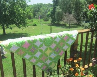 Baby Rag Quilt in Greens and Pastels