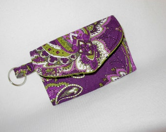 Card Case Key Ring Tri Fold Quilted Green Purple Paisley