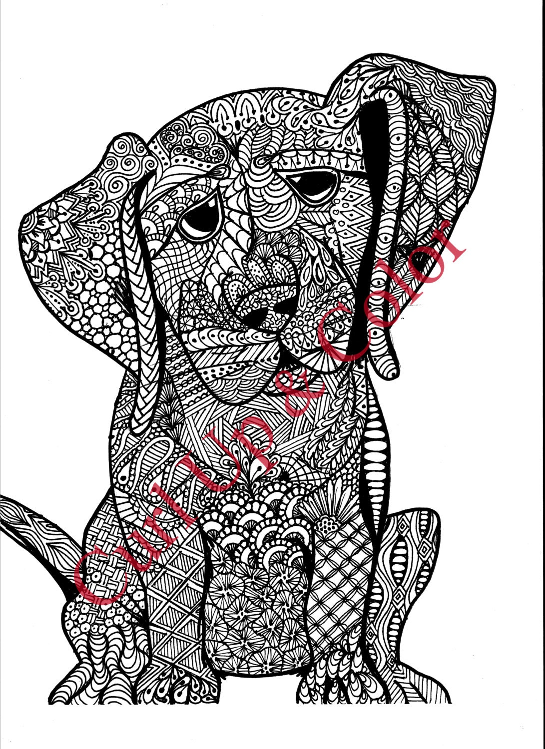 This is an image of Lucrative Adult Coloring Page Dog