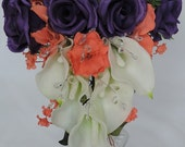 Real Touch / Latex ivory Calla lilys, Silk Purple Roses, Coral Gladiolus & Crystal  Wedding Cascade Cascading Bouquet Ivory,Cream Off-White.