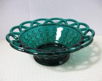 Laced Edge Cane Design Stiegel Green Bowl/Nappy - Imperial Glass - Ohio