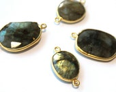 Labradorite Bezel Connector // Faceted Gemstone  Pendant // Gold Plated Setting // Craft Jewellry Supply