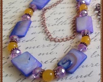 Shell Necklace Set, Purple Necklace, Purple Shell Jewelry Set, Yellow Jade Jewelry Set, Purple and Yellow Necklace Set, Crystal Necklace Set