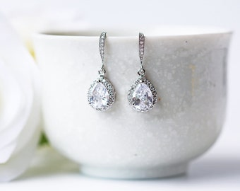Crystal Wedding Earrings Silver Cubic Zirconia Teardrop Bridal Prom Dangle Earrings