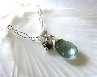 Aquamarine Necklace, Moss Aquamarine Necklace, Sterling Silver, Aquamarine Gemstone, March Birthstone - Still Water