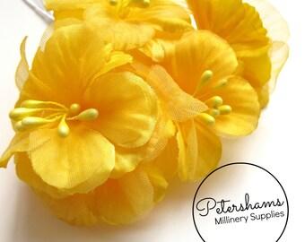 5 Satin & Organza Artificial Mini Hibiscus Flower Picks for Millinery, Fascinators - Yellow