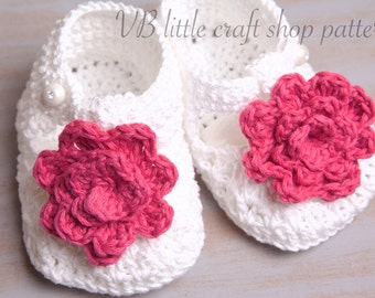 White Crochet bootees with pink flowers pattern. Instant PDF download!