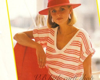 Candy-striped summer top knitting pattern. Instant PDF download!